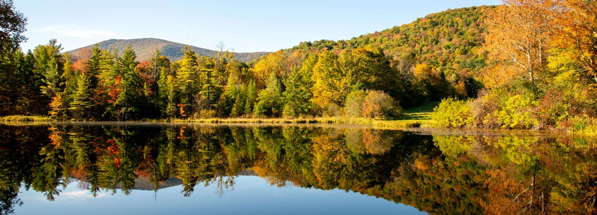 Vermont pond in fall